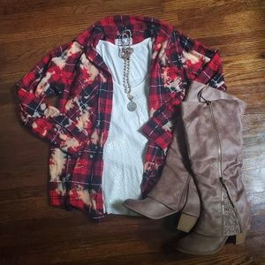 Acid Wash Flannel Red and Black